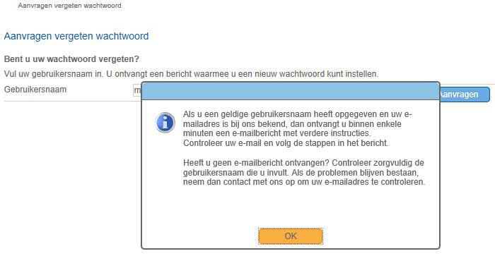 Als u op ok klikt wordt de aanvraag wijzigen wachtwoord